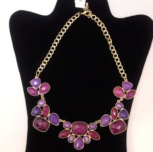 Gold and Purple Stone Illusion Necklace
